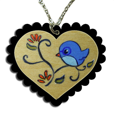 Nerdy Birdy Heart Cameo Necklace