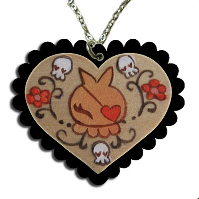 Dust Bunni Heart Cameo Necklace
